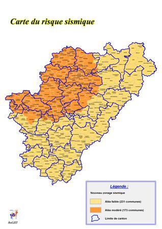 Carte des zones de sismicit en charente for Zone commune