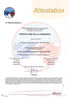 Attestation Qualipref 2.0 AFNOR